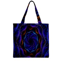 Flowers Dive Neon Light Patterns Grocery Tote Bag by Simbadda