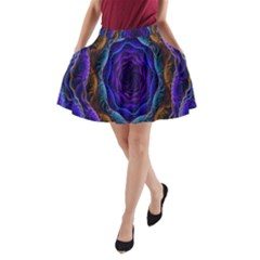 Flowers Dive Neon Light Patterns A Line Pocket Skirt by Simbadda