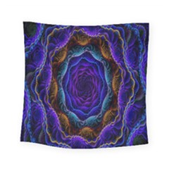 Flowers Dive Neon Light Patterns Square Tapestry (small) by Simbadda