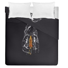 Humor Rocket Ice Cream Funny Astronauts Minimalistic Black Background Duvet Cover Double Side (queen Size)