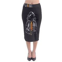 Humor Rocket Ice Cream Funny Astronauts Minimalistic Black Background Midi Pencil Skirt by Simbadda
