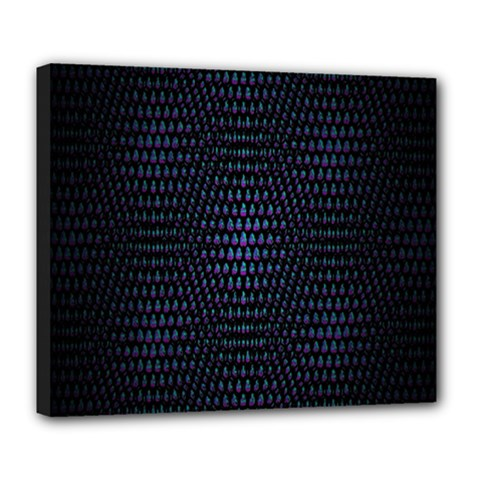 Hexagonal White Dark Mesh Deluxe Canvas 24  X 20   by Simbadda