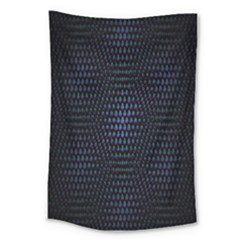 Hexagonal White Dark Mesh Large Tapestry
