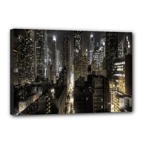 New York United States Of America Night Top View Canvas 18  X 12  by Simbadda