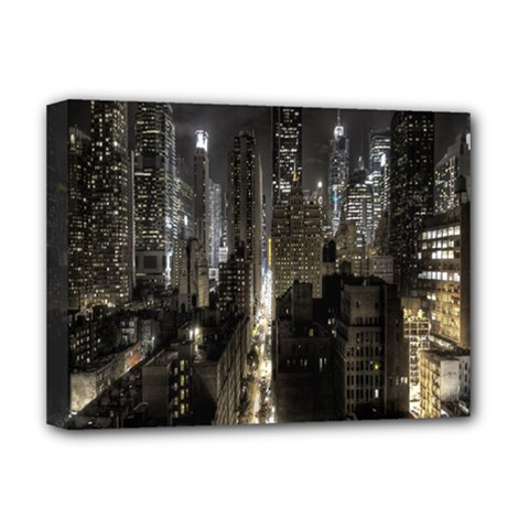 New York United States Of America Night Top View Deluxe Canvas 16  X 12   by Simbadda