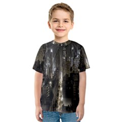 New York United States Of America Night Top View Kids  Sport Mesh Tee