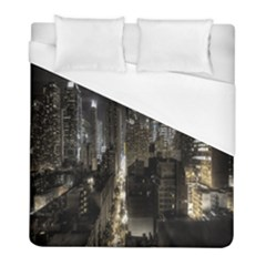 New York United States Of America Night Top View Duvet Cover (full/ Double Size) by Simbadda