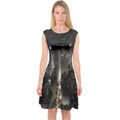 New York United States Of America Night Top View Capsleeve Midi Dress