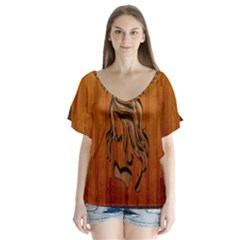 Pattern Shape Wood Background Texture Flutter Sleeve Top by Simbadda
