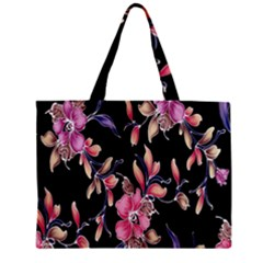 Neon Flowers Black Background Mini Tote Bag by Simbadda