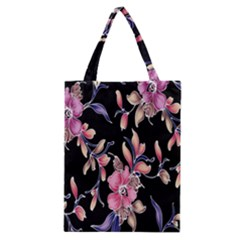 Neon Flowers Black Background Classic Tote Bag by Simbadda