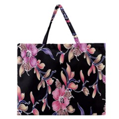 Neon Flowers Black Background Zipper Large Tote Bag by Simbadda