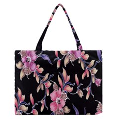 Neon Flowers Black Background Medium Zipper Tote Bag by Simbadda