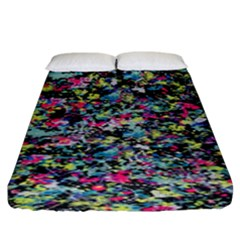 Neon Floral Print Silver Spandex Fitted Sheet (king Size) by Simbadda