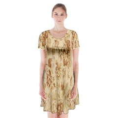 Patterns Flowers Petals Shape Background Short Sleeve V Neck Flare Dress