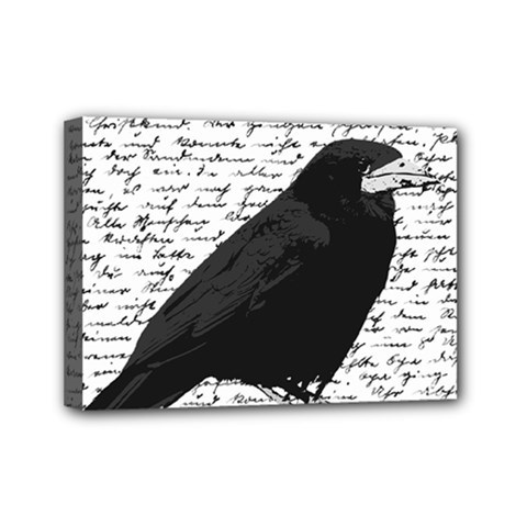 Black Raven  Mini Canvas 7  X 5  by Valentinaart