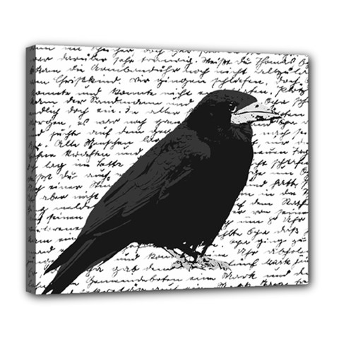 Black Raven  Deluxe Canvas 24  X 20   by Valentinaart