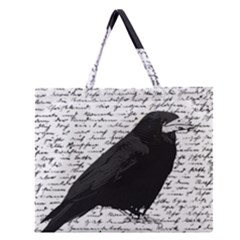 Black Raven  Zipper Large Tote Bag by Valentinaart