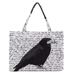 Black Raven  Medium Zipper Tote Bag by Valentinaart