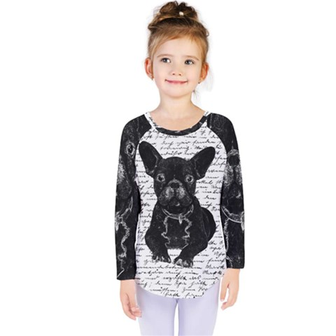 Cute Bulldog Kids  Long Sleeve Tee by Valentinaart