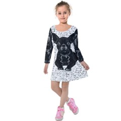 Cute Bulldog Kids  Long Sleeve Velvet Dress by Valentinaart