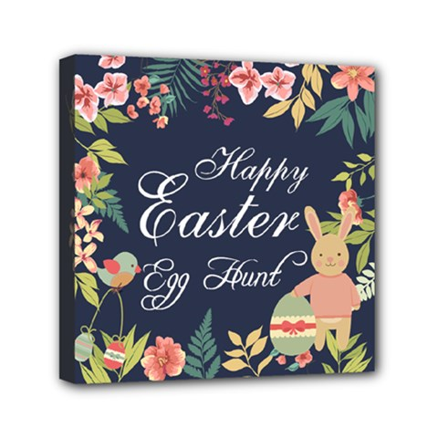 Happy Easter Egg Hunt Flower Mini Canvas 6  X 6  (framed) by strawberrymilkstore8