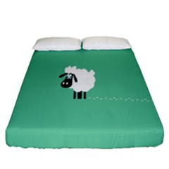 Sheep Trails Curly Minimalism Fitted Sheet (queen Size) by Simbadda