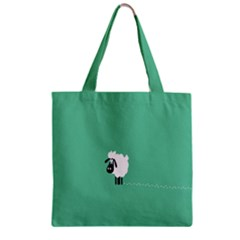 Sheep Trails Curly Minimalism Zipper Grocery Tote Bag by Simbadda