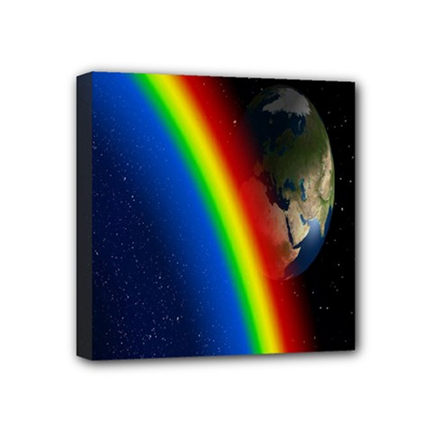 Rainbow Earth Outer Space Fantasy Carmen Image Mini Canvas 4  X 4  by Simbadda