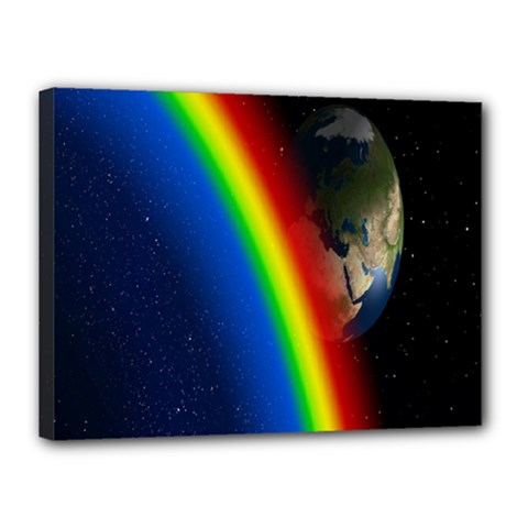 Rainbow Earth Outer Space Fantasy Carmen Image Canvas 16  X 12  by Simbadda