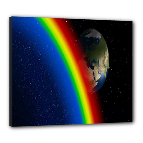 Rainbow Earth Outer Space Fantasy Carmen Image Canvas 24  X 20  by Simbadda