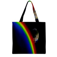 Rainbow Earth Outer Space Fantasy Carmen Image Grocery Tote Bag by Simbadda