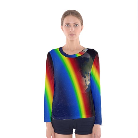 Rainbow Earth Outer Space Fantasy Carmen Image Women s Long Sleeve Tee by Simbadda