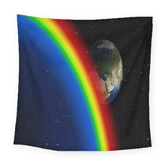 Rainbow Earth Outer Space Fantasy Carmen Image Square Tapestry (large) by Simbadda