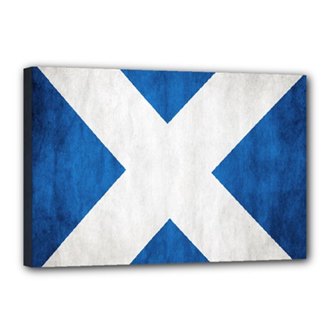 Scotland Flag Surface Texture Color Symbolism Canvas 18  X 12  by Simbadda
