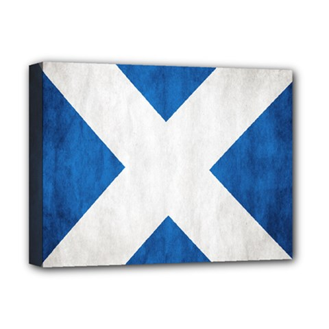 Scotland Flag Surface Texture Color Symbolism Deluxe Canvas 16  X 12   by Simbadda