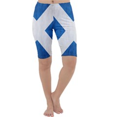 Scotland Flag Surface Texture Color Symbolism Cropped Leggings  by Simbadda