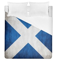 Scotland Flag Surface Texture Color Symbolism Duvet Cover (queen Size) by Simbadda