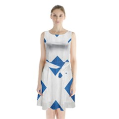 Scotland Flag Surface Texture Color Symbolism Sleeveless Chiffon Waist Tie Dress by Simbadda