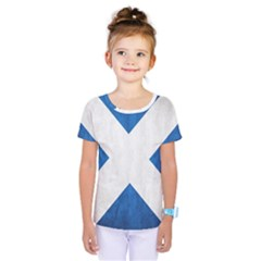 Scotland Flag Surface Texture Color Symbolism Kids  One Piece Tee by Simbadda