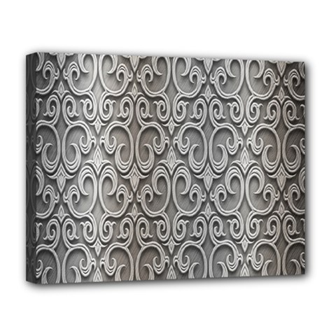 Patterns Wavy Background Texture Metal Silver Canvas 14  X 11  by Simbadda