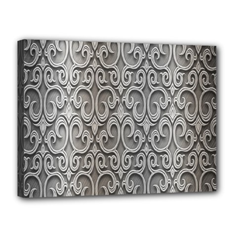 Patterns Wavy Background Texture Metal Silver Canvas 16  X 12  by Simbadda