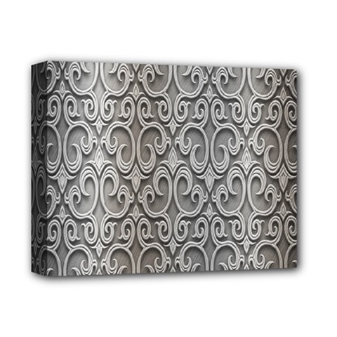 Patterns Wavy Background Texture Metal Silver Deluxe Canvas 14  X 11