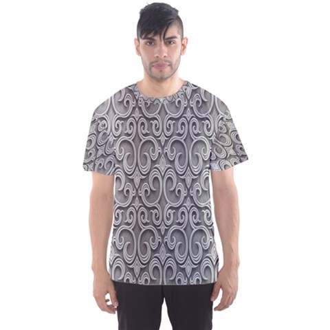 Patterns Wavy Background Texture Metal Silver Men s Sport Mesh Tee by Simbadda