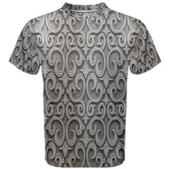 Patterns Wavy Background Texture Metal Silver Men s Cotton Tee by Simbadda