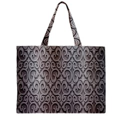 Patterns Wavy Background Texture Metal Silver Mini Tote Bag by Simbadda