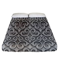 Patterns Wavy Background Texture Metal Silver Fitted Sheet (queen Size) by Simbadda