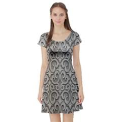 Patterns Wavy Background Texture Metal Silver Short Sleeve Skater Dress by Simbadda