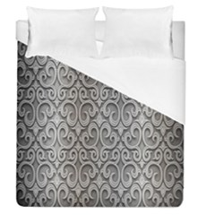 Patterns Wavy Background Texture Metal Silver Duvet Cover (queen Size) by Simbadda