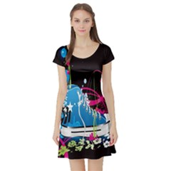 Sneakers Shoes Patterns Bright Short Sleeve Skater Dress